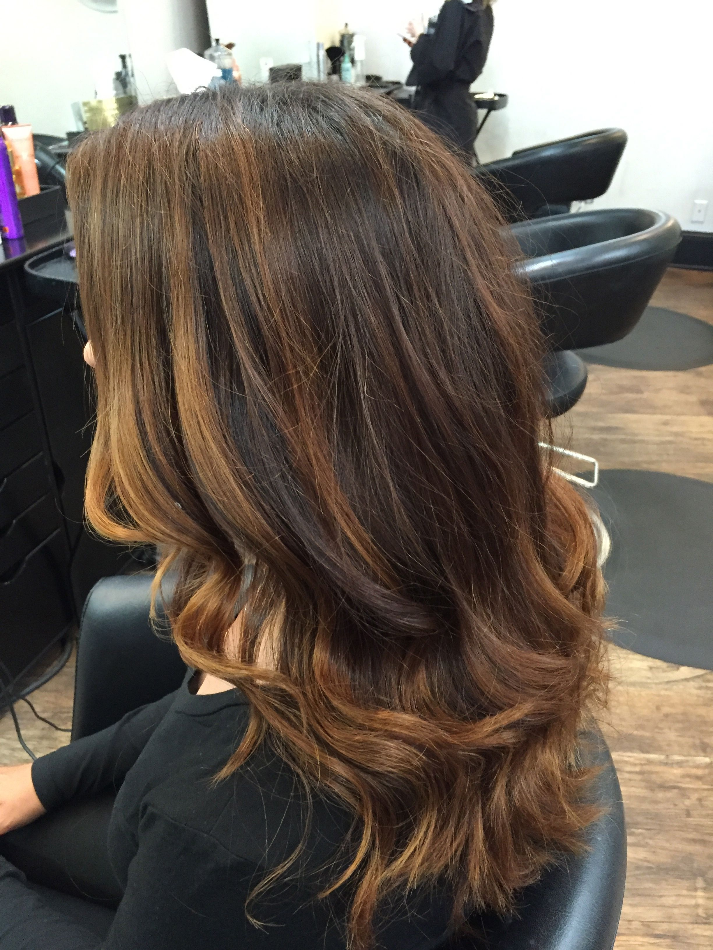 rich coppery chocolate brown natural base color with balayage