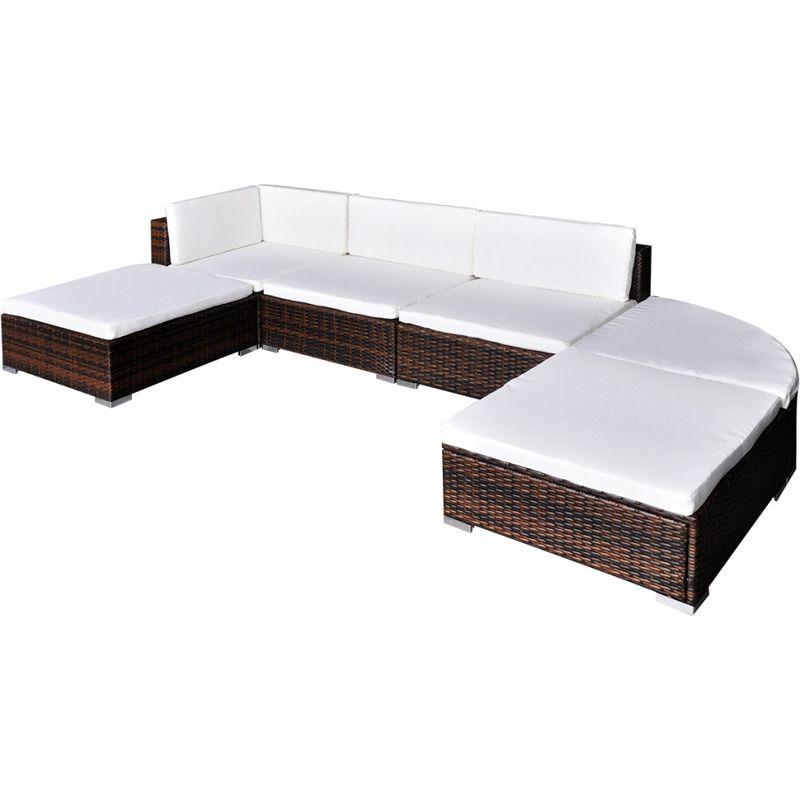 Vidaxl Outdoor Lounge Set 16 Pieces Brown Poly Rattan Wicker Couch Table Outdoor Lounge Set Outdoor Wicker Furniture Outdoor Lounge