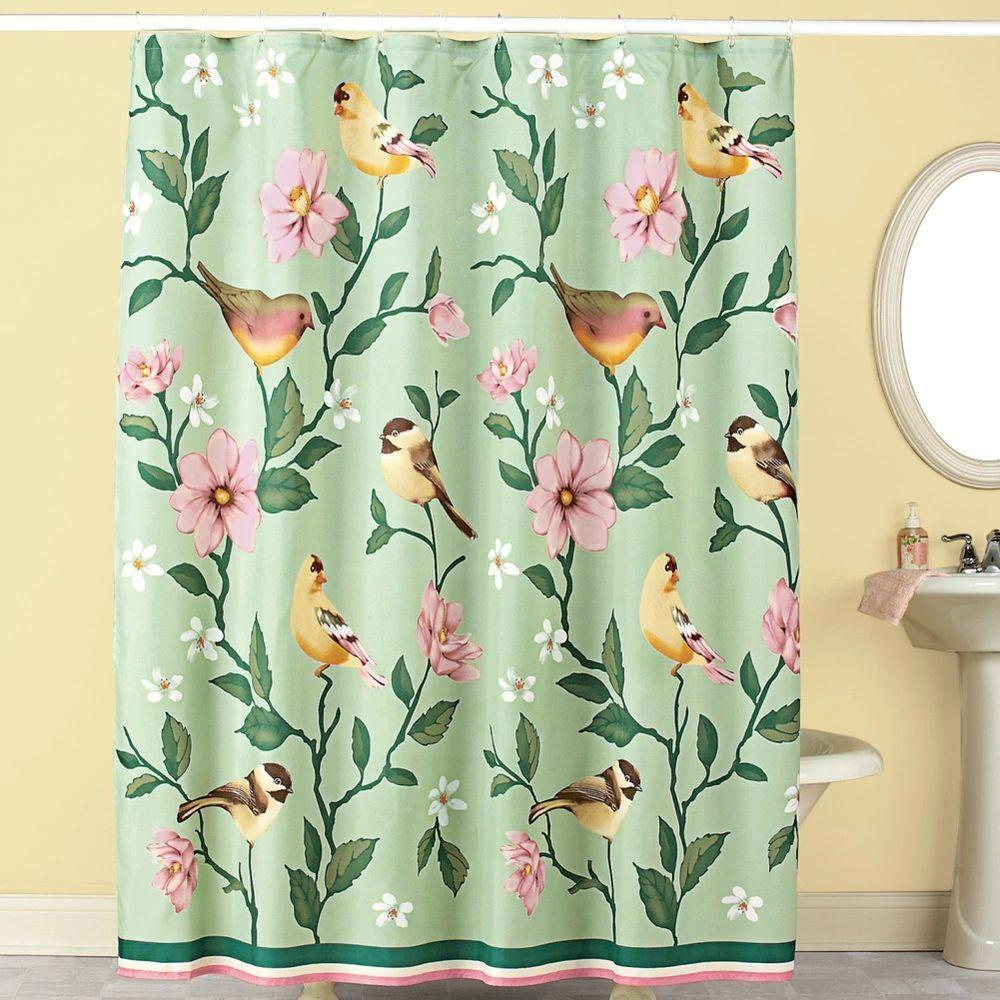 Song birds flower garden floral green bathroom bath decor fabric