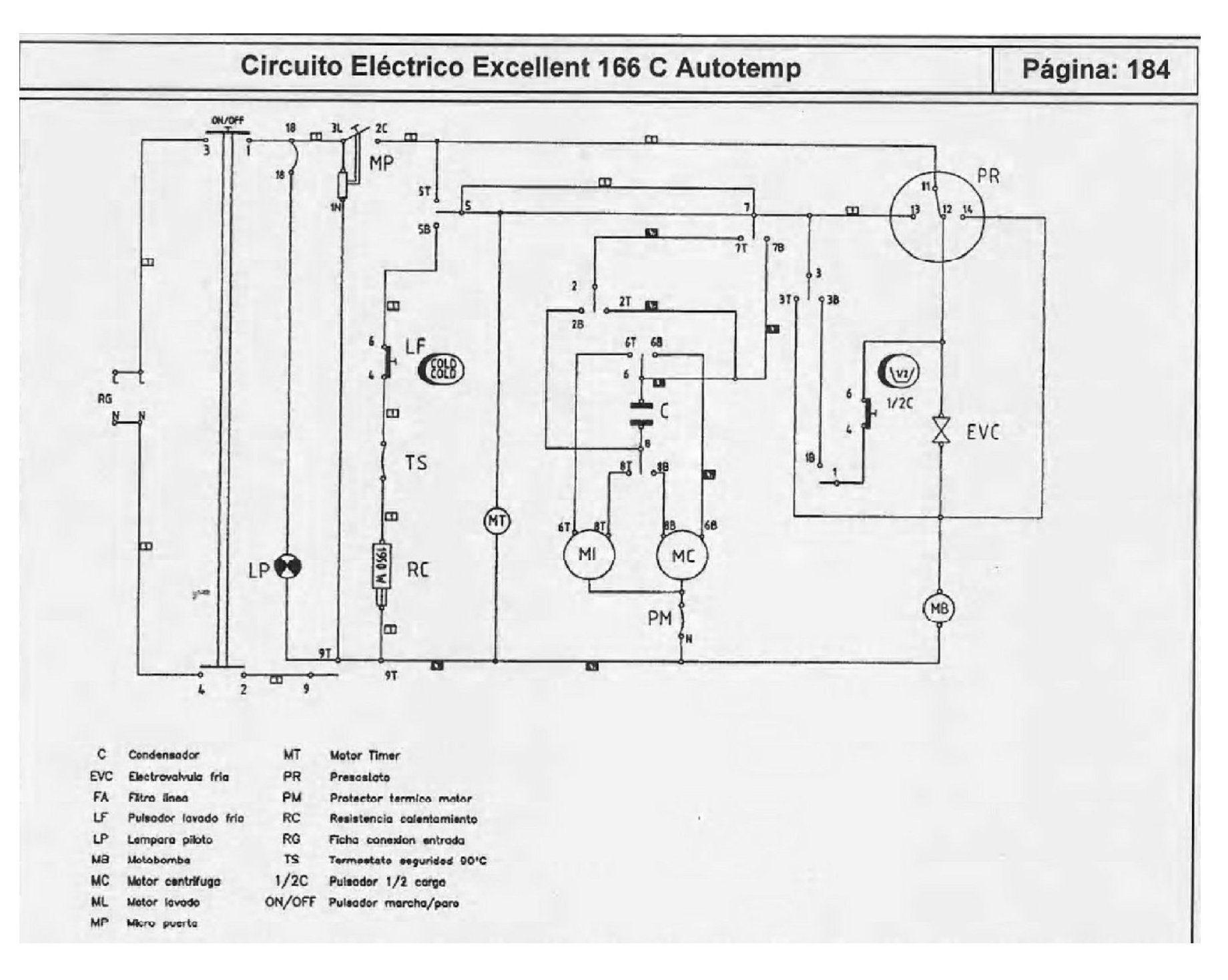 Circuito Unilineal : Cómo conectar el timer de lavarropas drean excellent 166 lavadoras