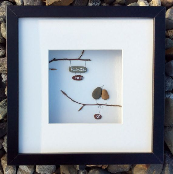 Unique Wedding Gift From Ireland Personalized Pebble Art Love Memento Also For Anniversary Or