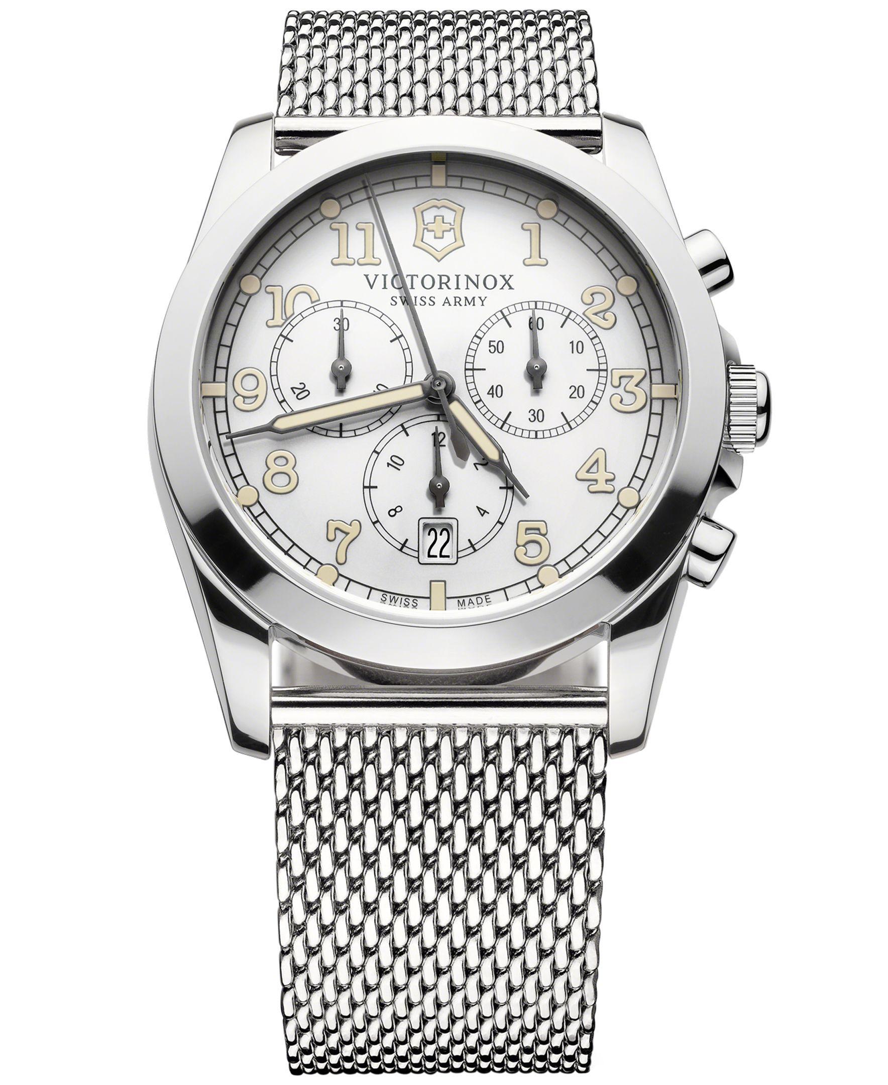 Victorinox Swiss Army Men's Chronograph Infantry Stainless Steel Mesh Bracelet  Watch 40mm 249066