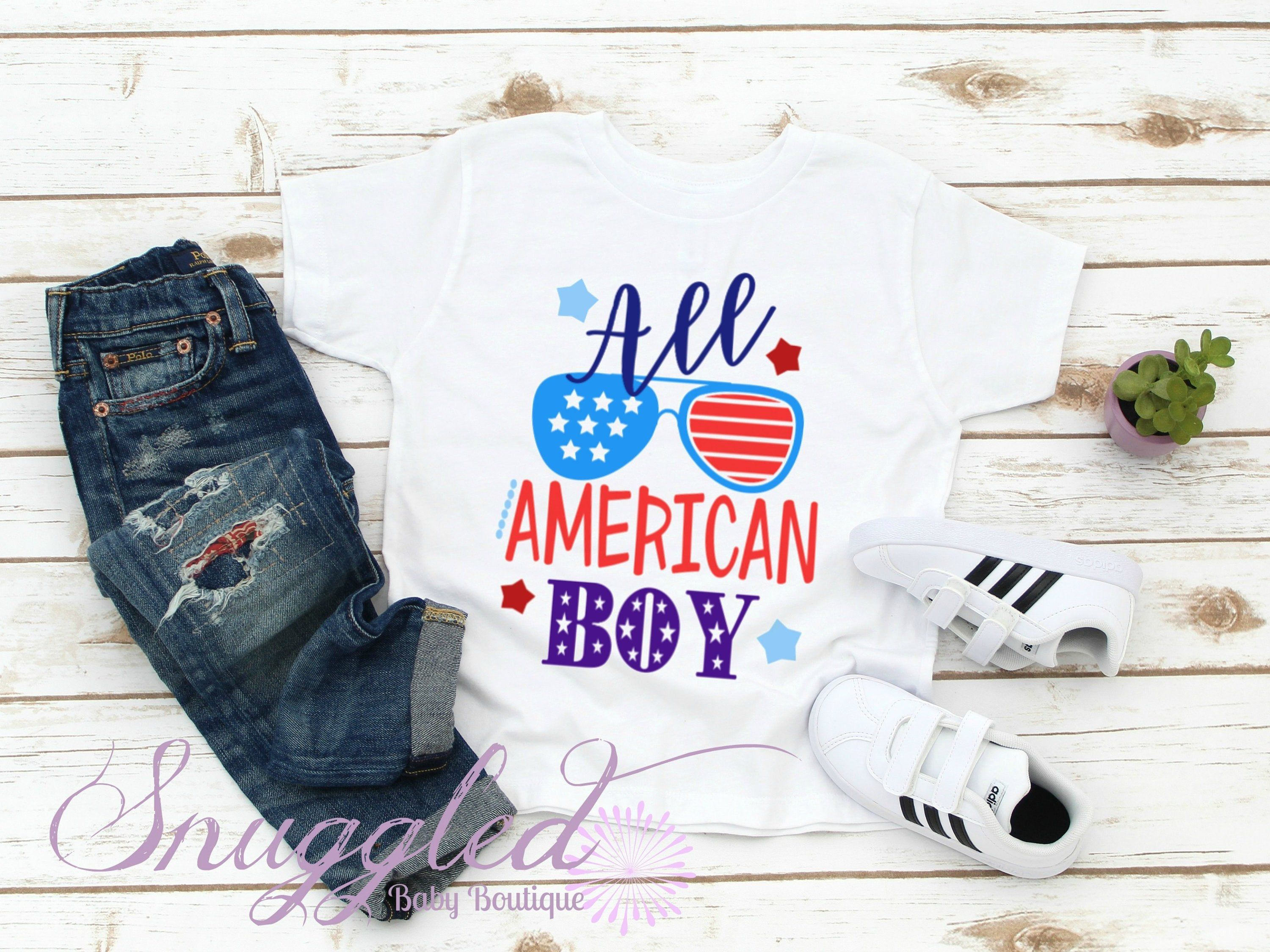 All American Boy Tee Patriotic T Shirt Independence Day Fourth Of July Boy Tees Kids Tee Shirts All American Boy