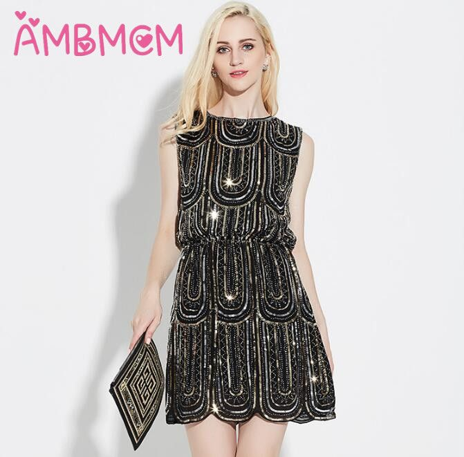 AMBMCM Sexy split sequin dress metal Christmas party dress High
