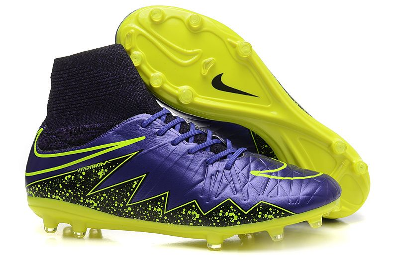 2015 Nike Soccer Boots Hypervenom Phantom II High tops FG purple yellow