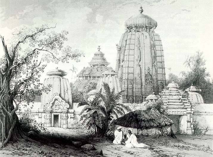 Unseenpic the great lingaraja temple bhubaneswar way back in 1845 a sketch by james fergusson
