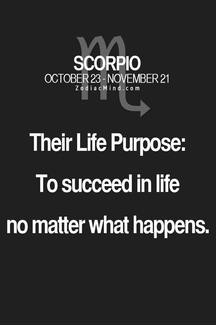 #Scorpio Life Purpose: To succeed in life no matter what ...