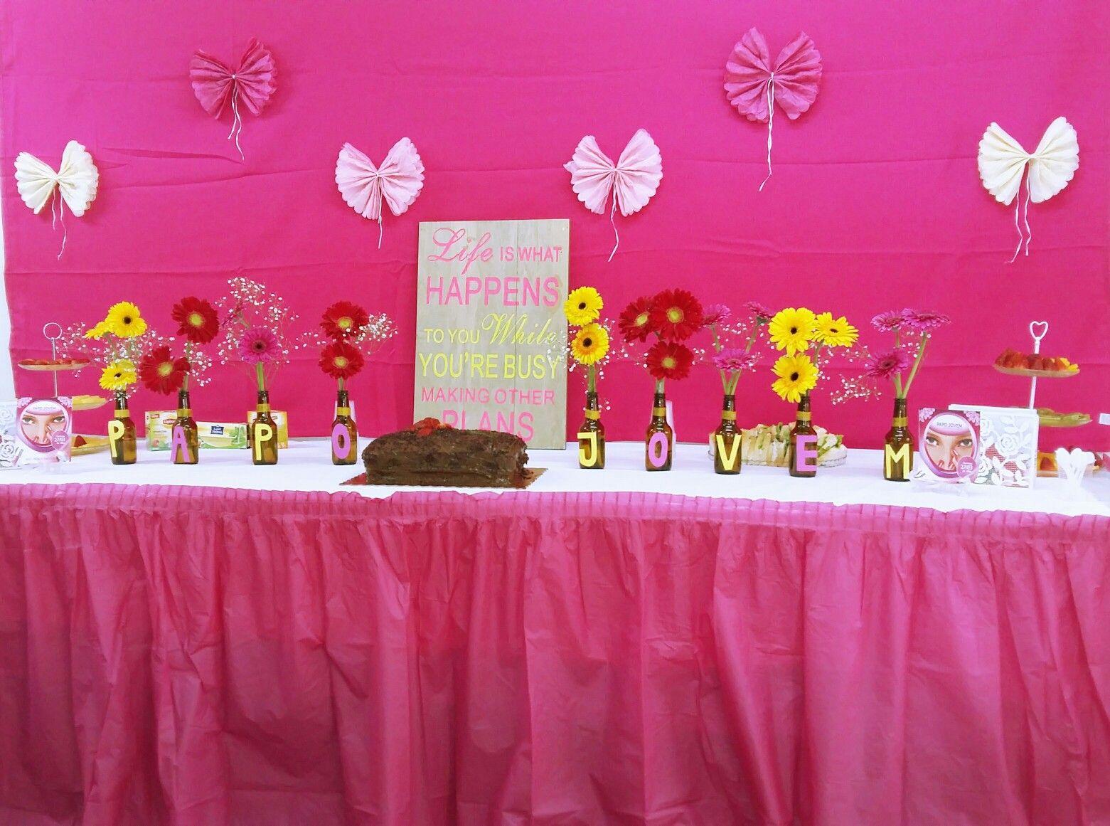 Papo Jovem Garrafas na decoração.. simples! #decor#pink#Flowers#reutilizar#garrafas#rosa