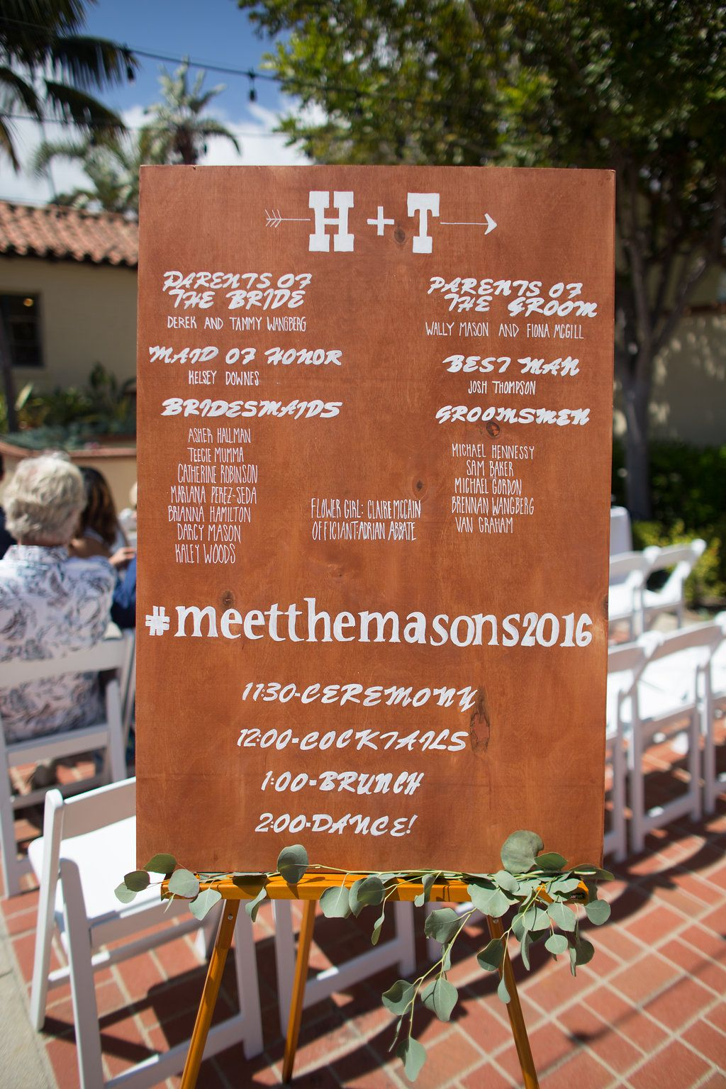 signage to let guests knows the details of the event in lieu of