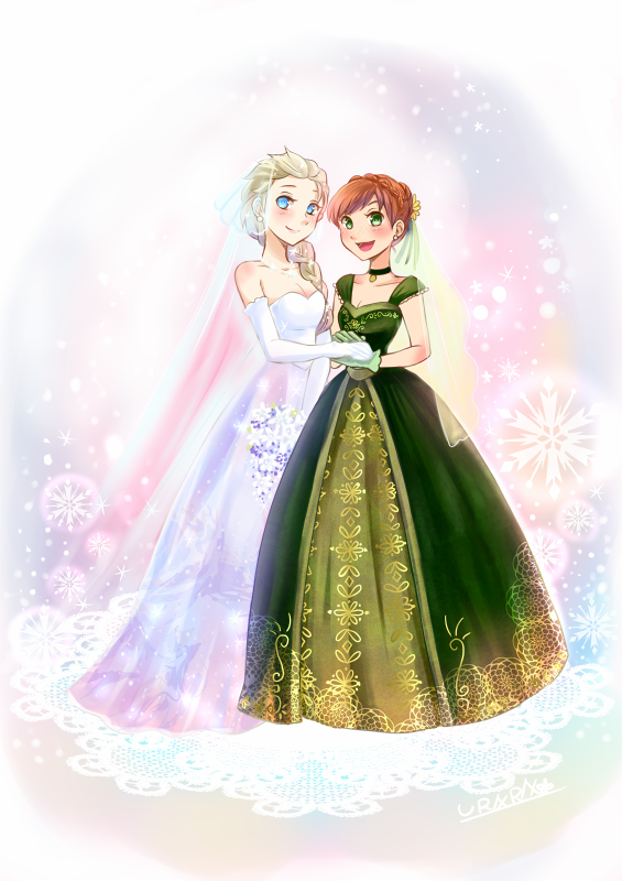 Elsa and Anna. The beautiful Snow Queen about to marry her beloved Winter spirit <3