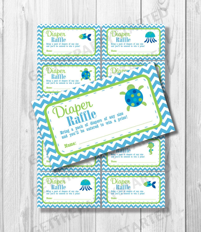 DIAPER RAFFLE TICKETS Printable Baby Shower Raffle Ticket