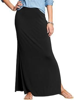 c3fbdd52ab Womens Jersey Side-Slit Maxi Skirts Black or Navy with white stripe Old Navy