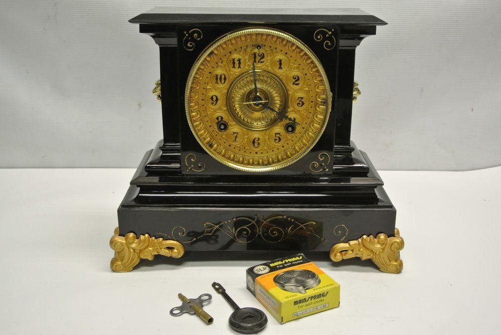 Antique 1882 Ansonia Black Cast Iron Mantel Clock W Key Pendulum Restored Mantel Clocks Clock Old Clocks