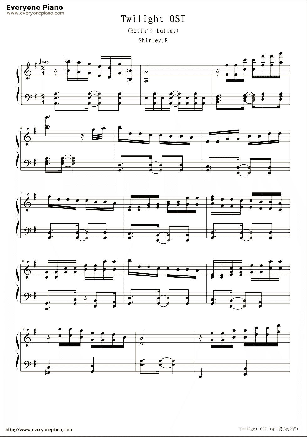 Free Bella S Lullaby Twilight Sheet Music Preview 1 Piano Music Twilight Songs Piano Sheet Music