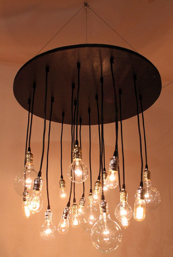 The neely round industrial chandelier with vintage bulbs 67500 items similar to the neely round industrial chandelier with vintage bulbs on etsy aloadofball Gallery