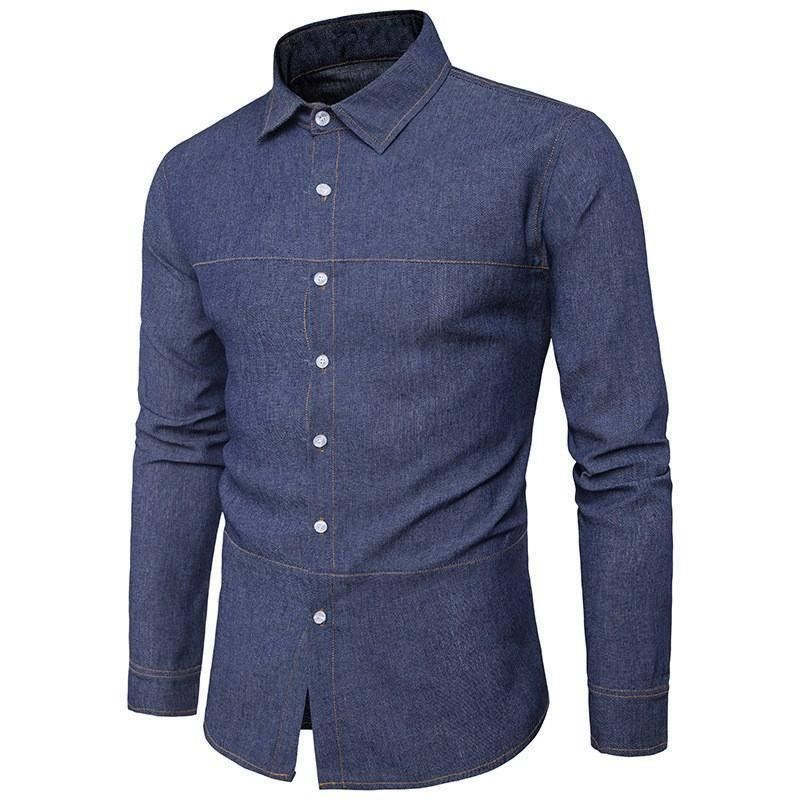 88be16719e Mens Button up denim style slim fit long sleeve dress shirt. no pockets   Undisclosed  ButtonFront