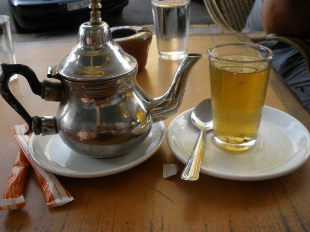 Moroccan Mint tea @ a cafe in Casablanca, Morocco.