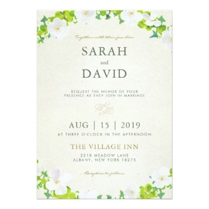 White Flowers Green Leaves Wedding Invitation Zazzle Com With