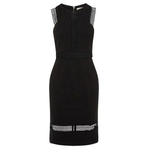Buy Oasis Lace Trim Pencil Dress, Black Online at johnlewis.com