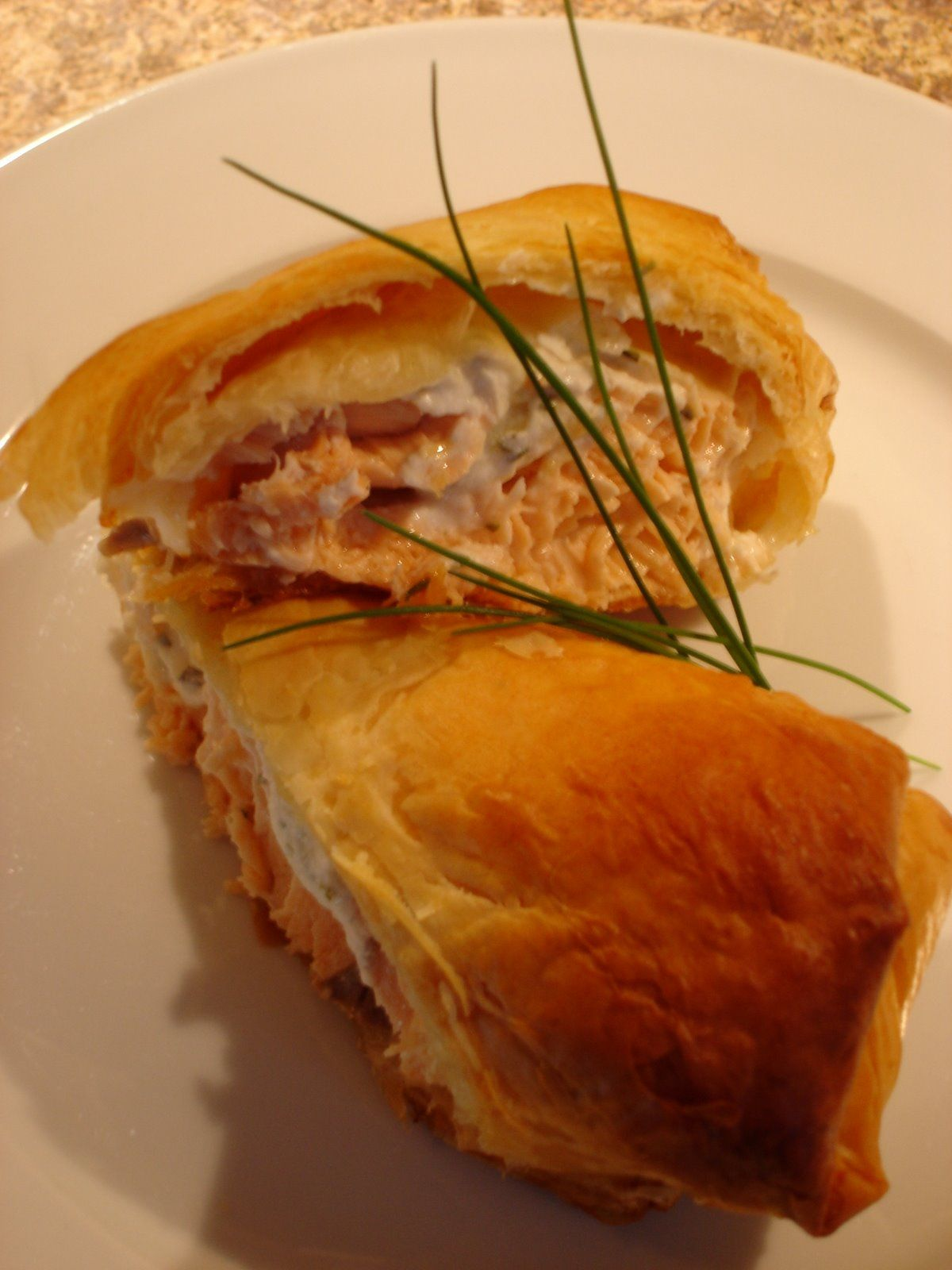 Phyllo Wrapped Salmon w/Herb goat cheese