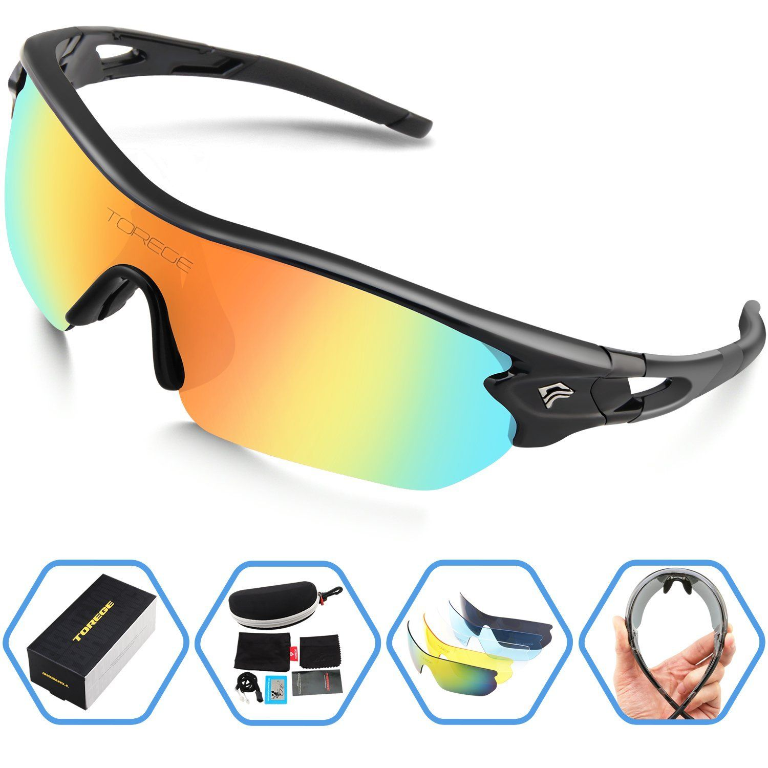 70397f20719 Amazon.com   Torege Polarized Sports Sunglasses With 5 Interchangeable  Lenes for Men Women Cycling Running Driving Fishing Golf Baseball Glasses  TR002 ...