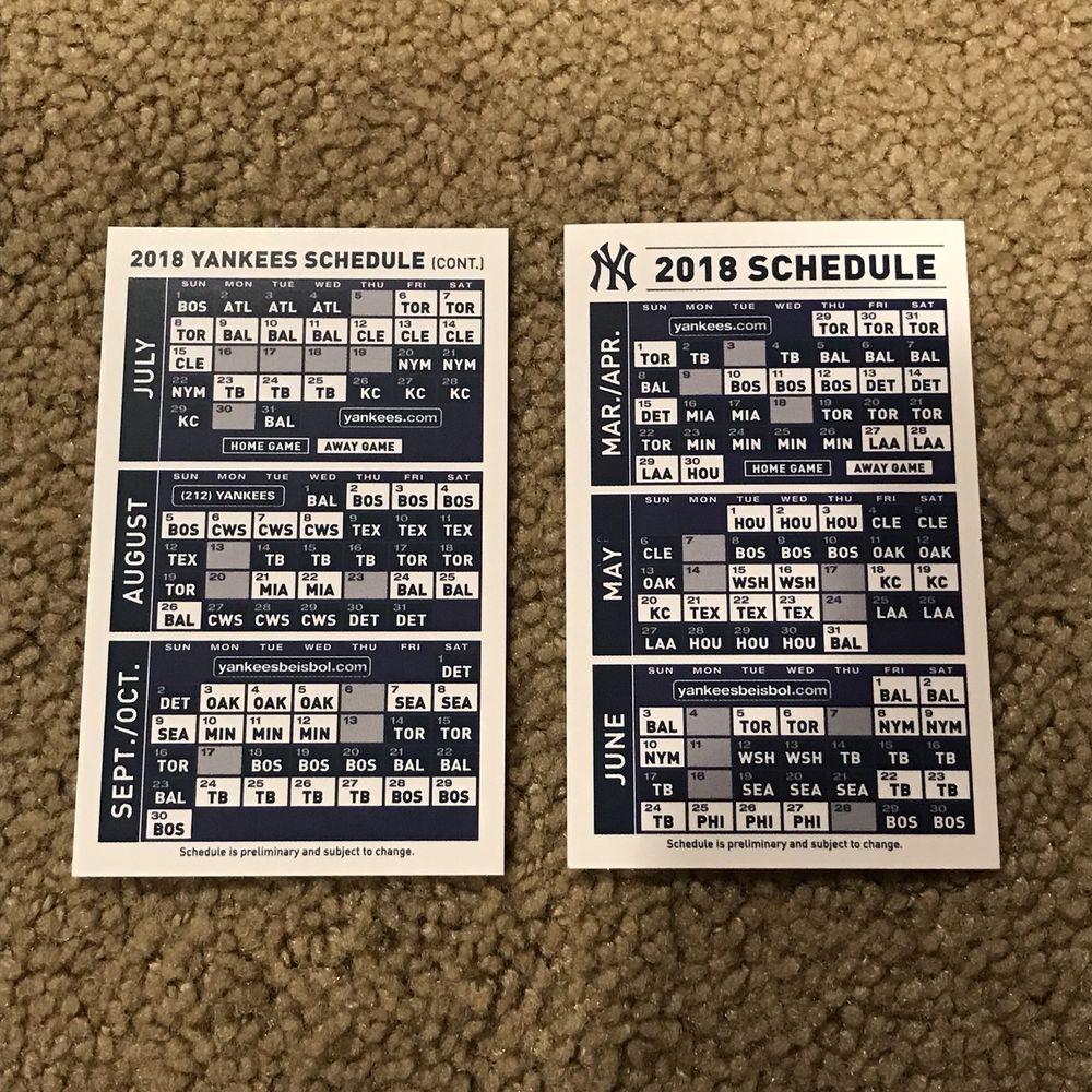 New York Yankees 2018 Baseball Mlb Pocket Schedule Calendar Sga Qty 5 Mlb Baseball New York Yankees Yankees