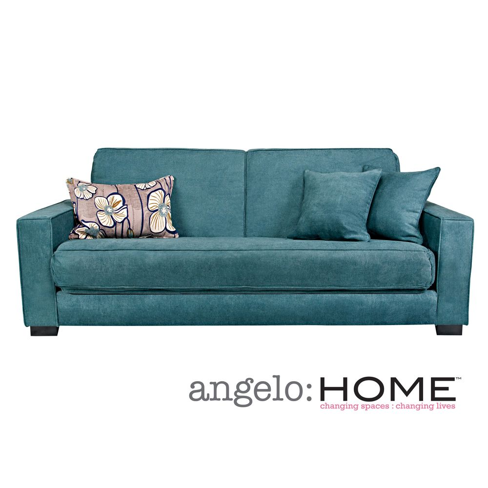 Angelo Home Grayson Parisian Teal Blue Convert A Couch Futon Sofa Sleeper