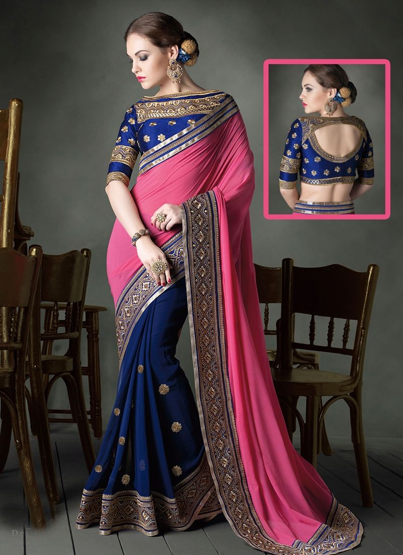 Buy this charming pink faux georgette partywear saree online