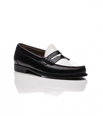 Weejuns Larson Penny Loafers Black & White Leather - Bass ...