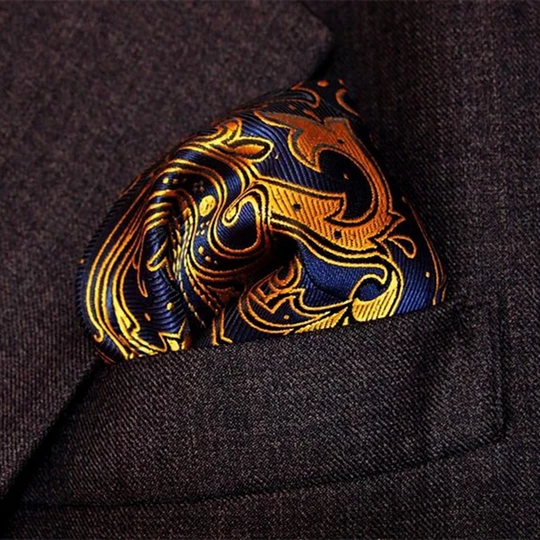 25cm Paisley Silk Handkerchiefs Woven Blue Gold Pocket Square Men's Business Casual Square Pockets Handkerchief Wedding Hankies #pocketsquares