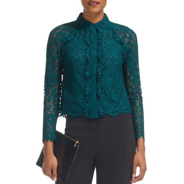 Whistles Suzie Scalloped Lace Shirt (€275) ❤ liked on Polyvore featuring tops, mineral green, pleated shirt, whistles tops, lacy shirt, lacy tops and shirt top