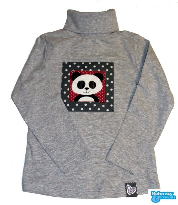 Panda-Cotton's grey turtleneck sweater, with a funny panda /Camisola de gola alta cinzenta dom um Panda divertido by BebuzzyandFriends, €15.00