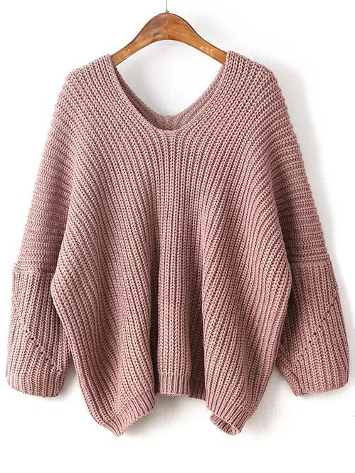 Shop Pink V Neck Drop Shoulder Oversized Sweater online. SheIn offers Pink  V Neck Drop Shoulder Oversized Sweater   more to fit your fashionable needs. b8f5a4683