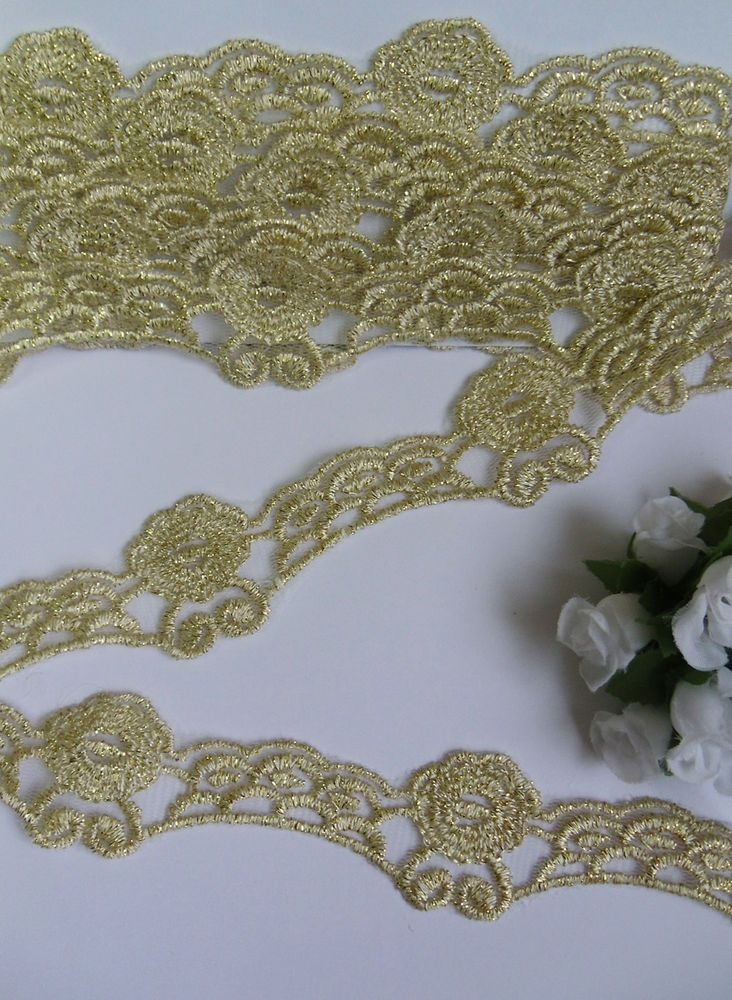Gold Embroidered Flower Lace Trims Wedding Prom Sewing  Craft 1 yard width 7 cm