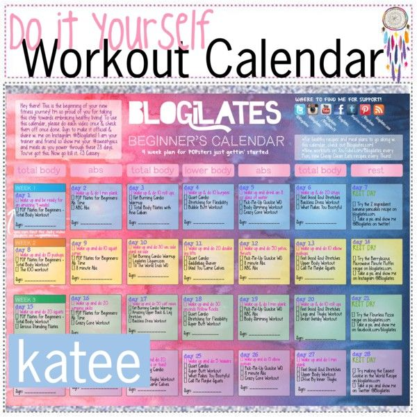 DiY WORKOUT CALENDAR | Exercise | Pilates for beginners ...