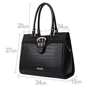 85cc3a77054 Kadell Women s Leather Designer Handbags Shoulder Bag Satchel for Office  Ladies Black