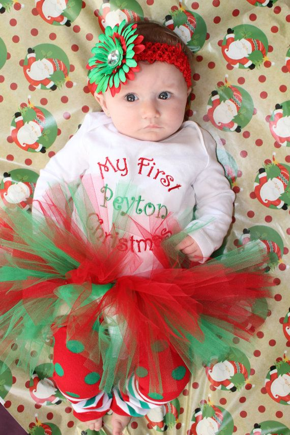 My First Christmas Personalized OUTFIT/ baby/ infant girl/ tutu my first  christmas onesie matching crochet headband flower/ newborn-12month - My First Christmas Personalized OUTFIT/ Baby/ Infant Girl/ Tutu My
