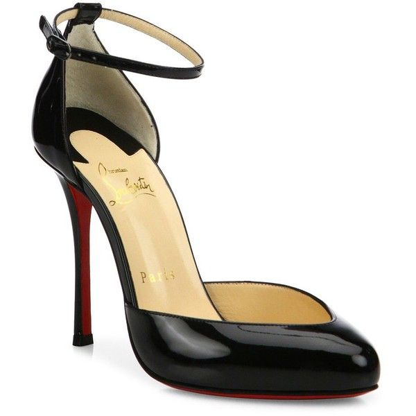 Christian Louboutin Dollyla Patent Leather d'Orsay Pumps ($775) ❤ liked on  Polyvore