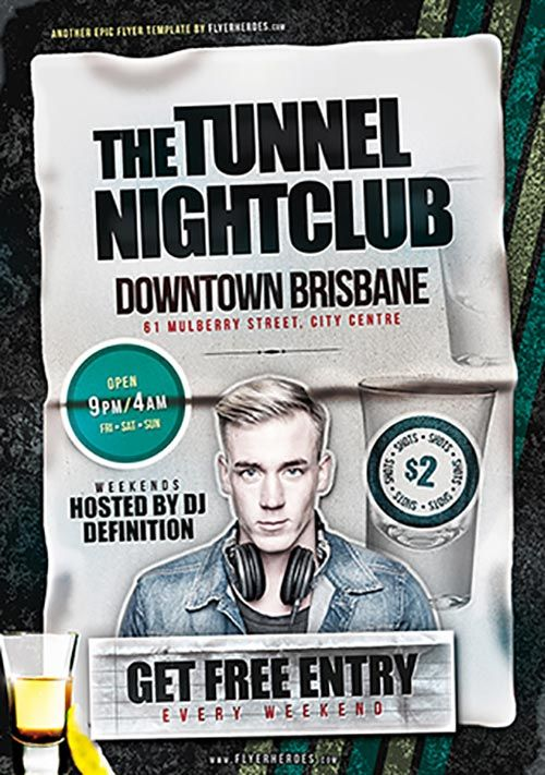 Tunnel Nightclub Free Psd Flyer Template  HttpWwwFreepsdflyer