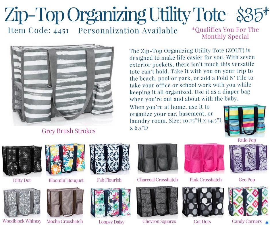 Thirty One Zip Top Organizing Utility Tote Springsummer 2018