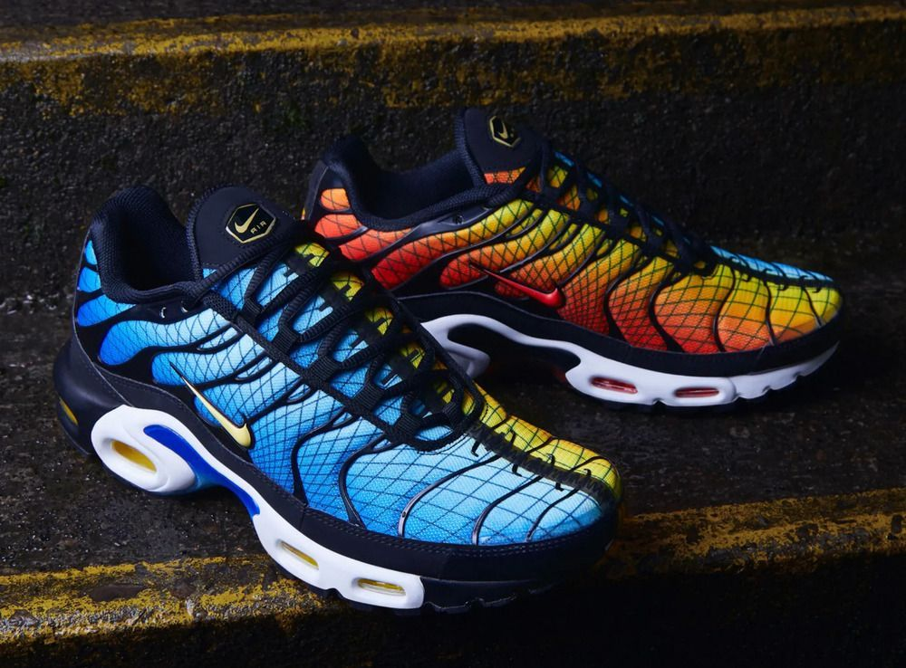 eBay link) Nike Air Max Plus TN GREEDY Sunset and Hyper Blue
