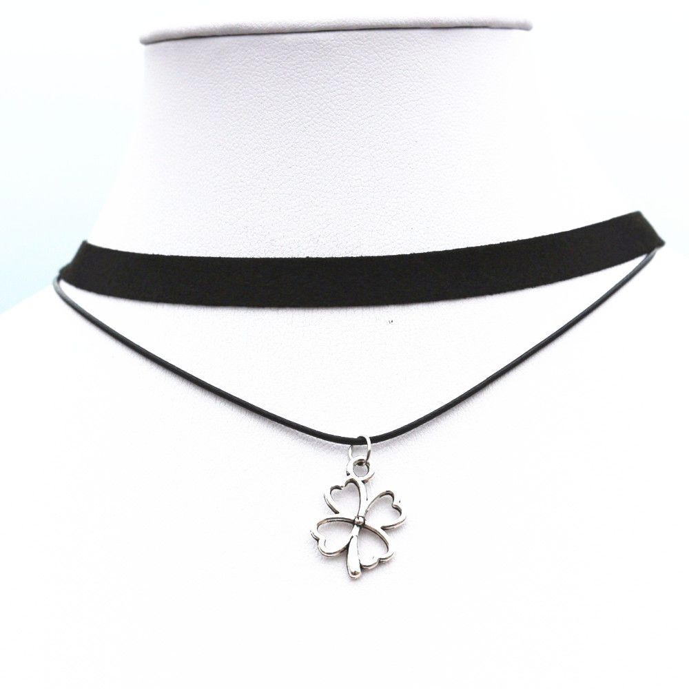 Nknew gothic double layers black choker collier vintage flower