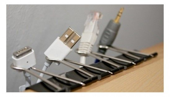 cool way to use binder clips for organizing and keep cords in place