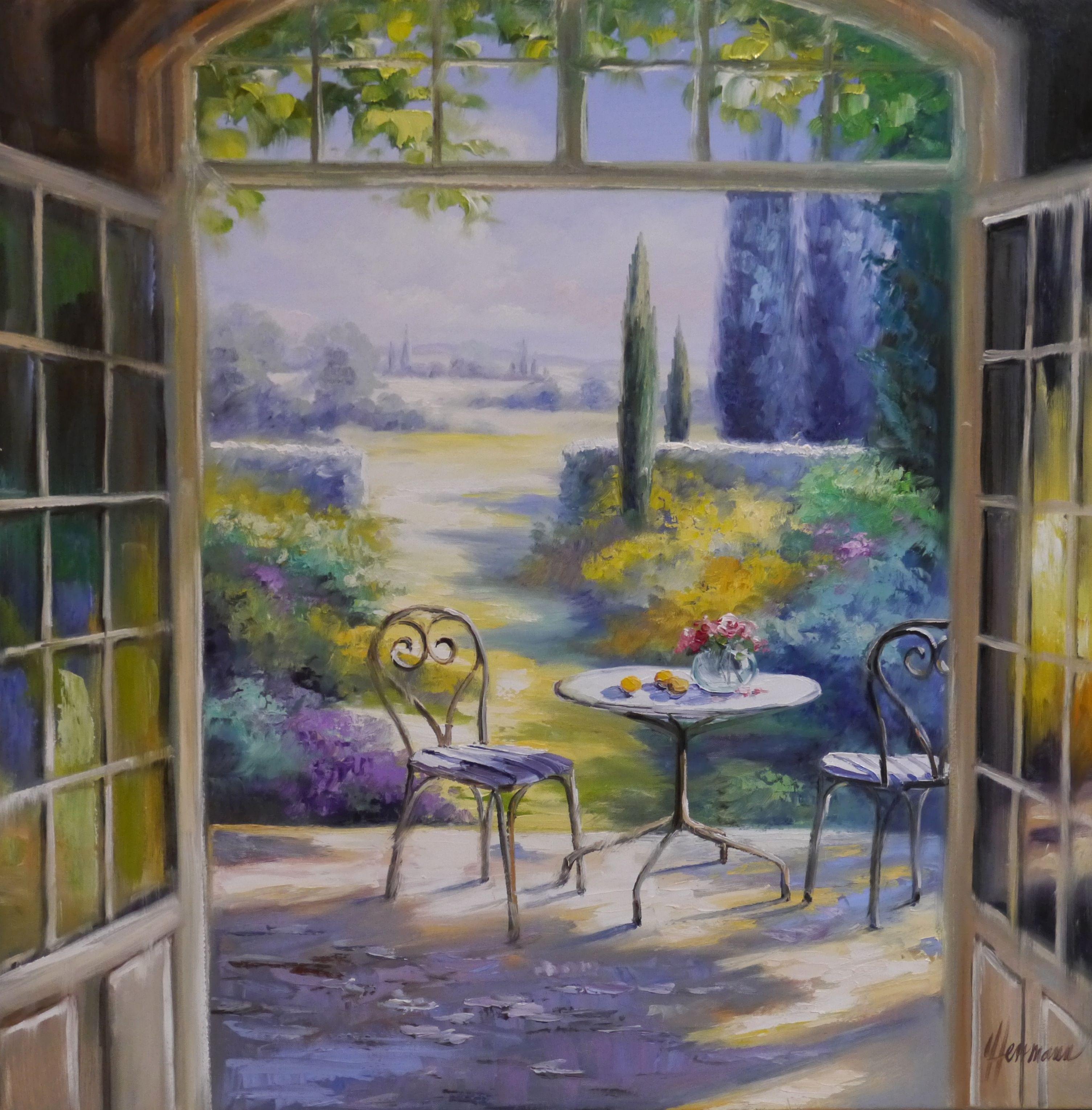 Blick Ber Die Terrasse In Den Garten - Lgemlde Von Ute