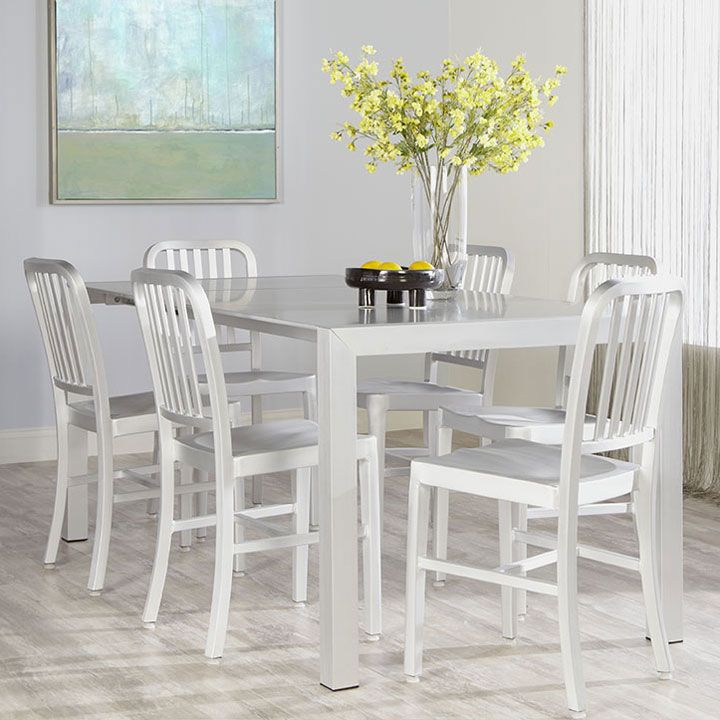 The Callie Aluminum Dining Chair Pairs Clic Design With A Lightweight Matte Frame Seat