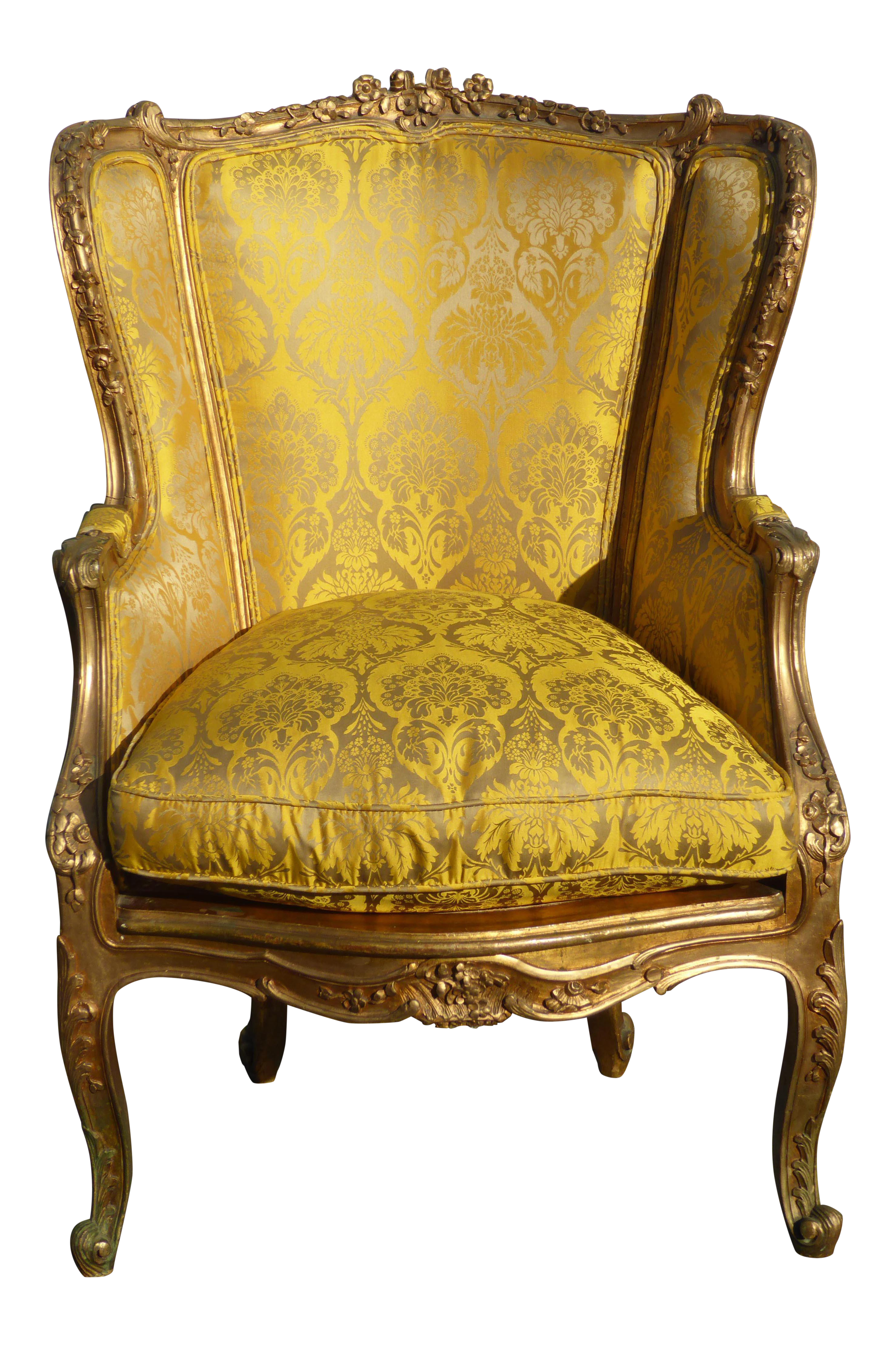 French Rococo Louis XVI Wingback Gold Floral Accent Chair With