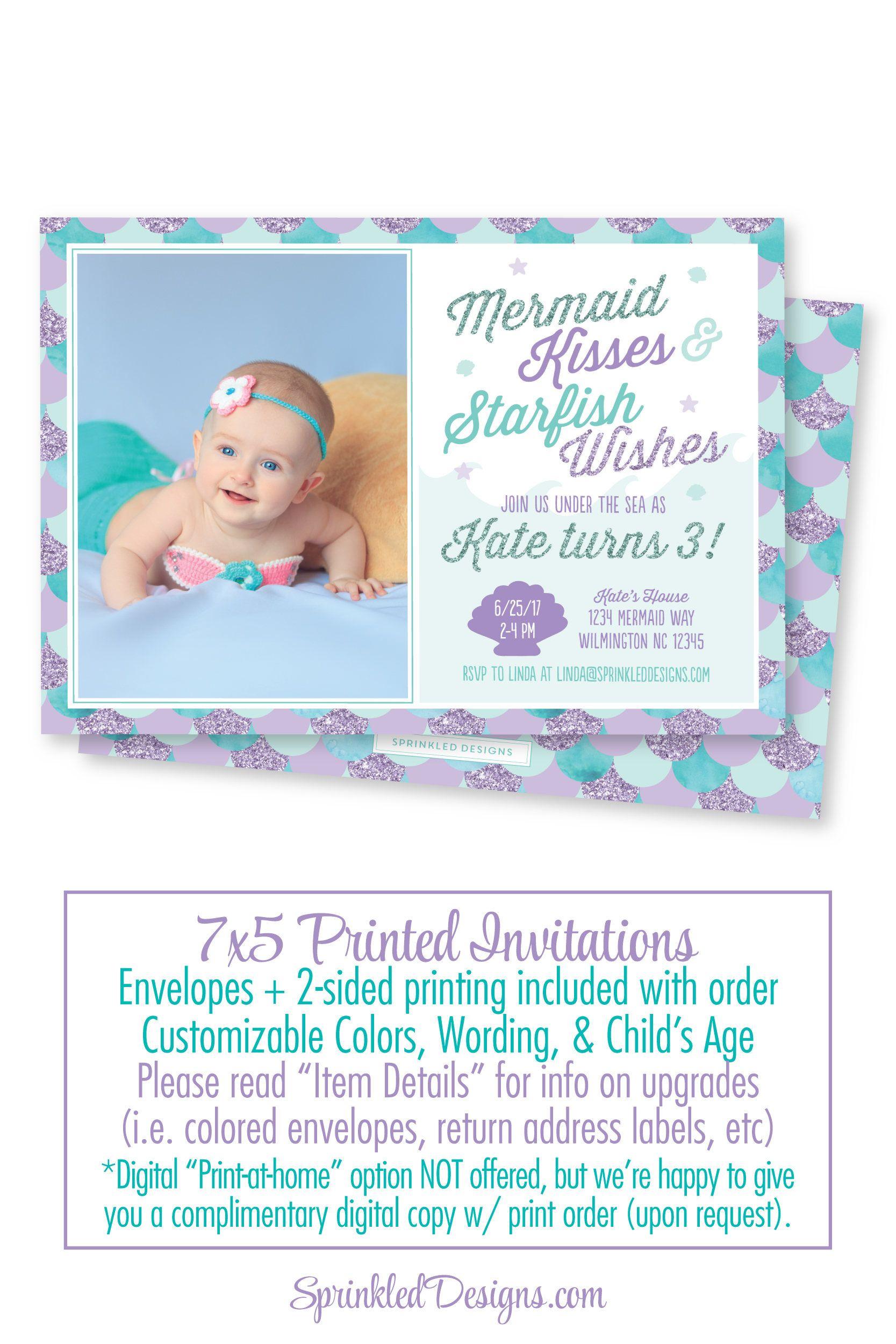 Mermaid Birthday Invitation, Photo Invites, Photo Card, Mermaid ...
