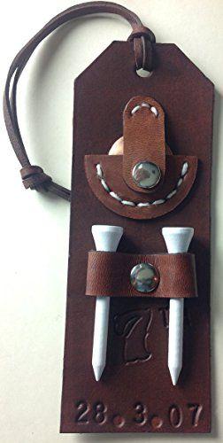Handmade Personalised Custom Dark Brown Leather Tee Holder Golf