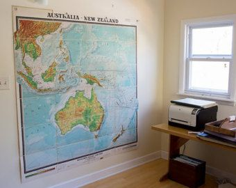 Huge vintage mid century antique wall map of australia and new huge vintage mid century antique wall map of australia and new zealand by denoyer publicscrutiny Choice Image