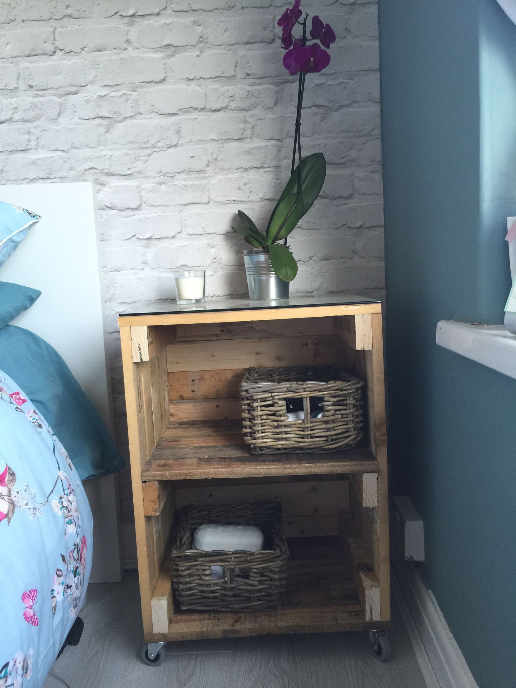 Our Bedside Table Made From Pallets Bedside Table Diy Pallet